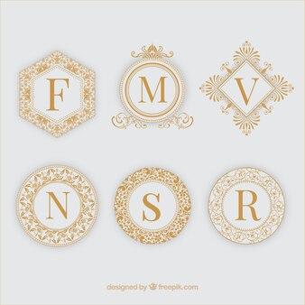Six golden ornamental frames