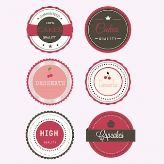 Six labels for desserts