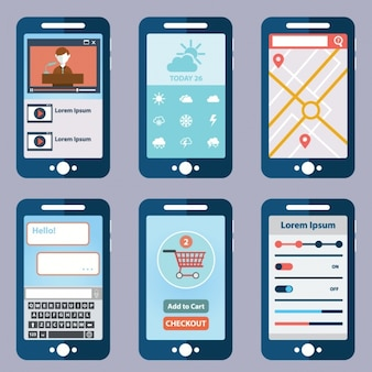 Six mobile application screens