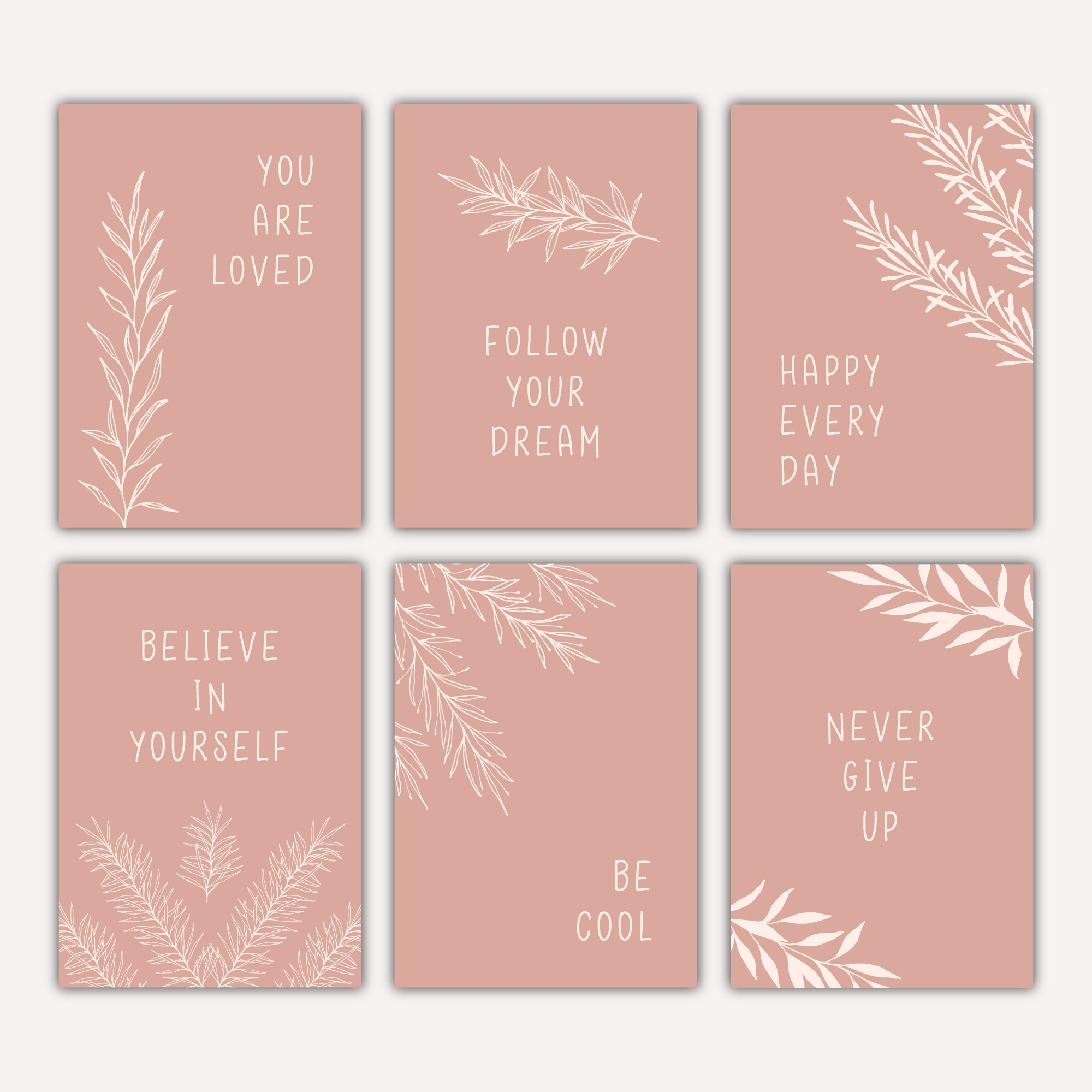 Six motivation cards with hand drawn botanical illustrations