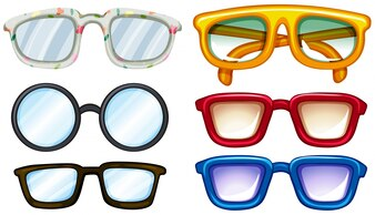 Six pairs of glasses with cool design