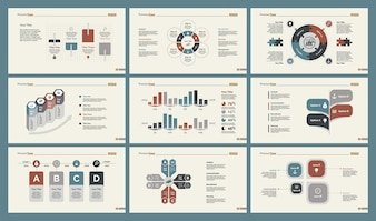 Six Research Charts Slide Templates Set
