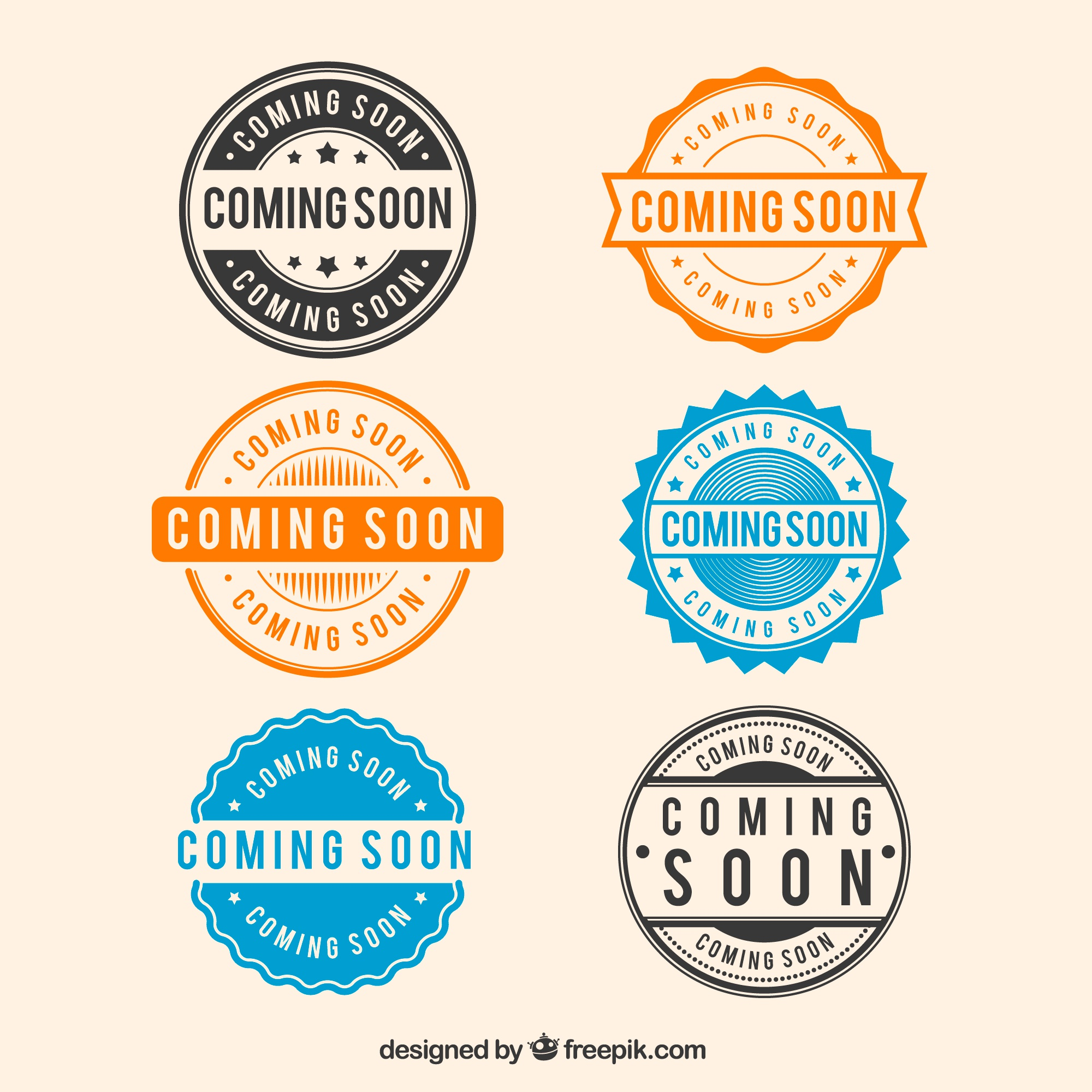 Six round coming soon stamp collection