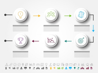 Six steps of success, Timeline Infographics layout with icons set, in black and white and colorful versions.