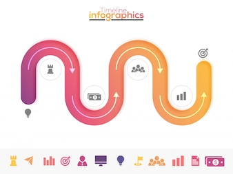 Six steps, Timeline Infographics layout with icons set, in black and white and colorful versions.