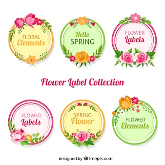 Six stickers with flowers in retro style