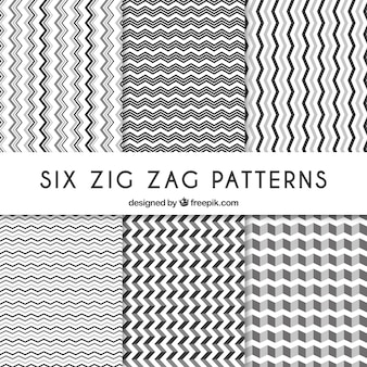 Six zig-zag patterns