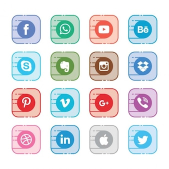 Sixteen icons for different social networks