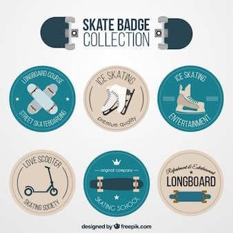 Skate badge collection in flat design