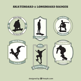 Skate badges with skater silhouettes