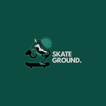 Skateboard logo on a green background