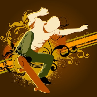 Skateboarding background design