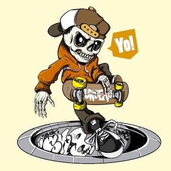Skater skeleton background