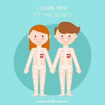 Skeleton couple in love