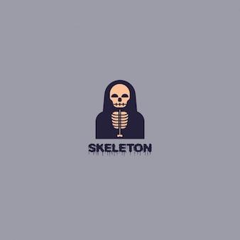 Skeleton logo on gray background