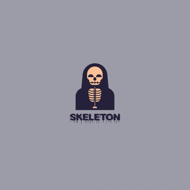 Skeleton logo on gray background