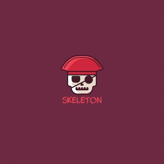 Skeleton logo on red background
