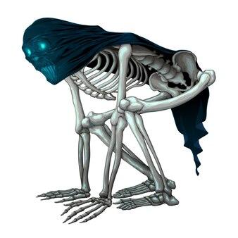 Skeleton monster with veil on skull
