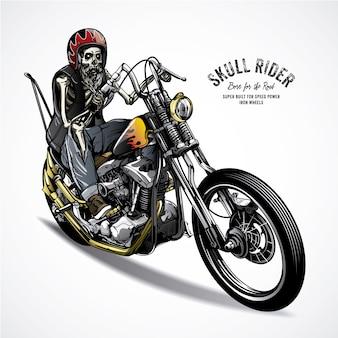 Skeleton riding a motorbike