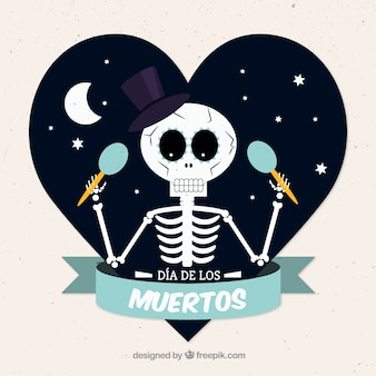 Skeleton with maracas for day of the dead