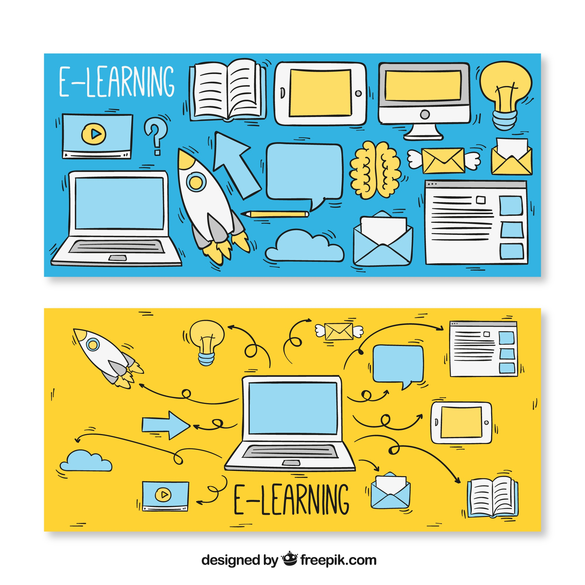 Sketch banners for e-learning elements