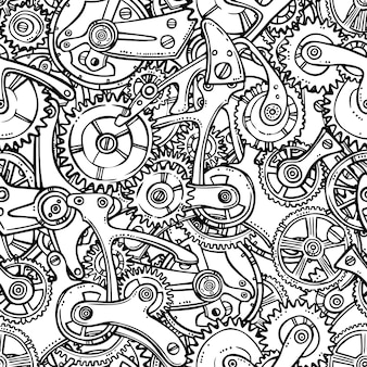 Sketch grunge cogwheel gears mechanisms seamless pattern vector illustration