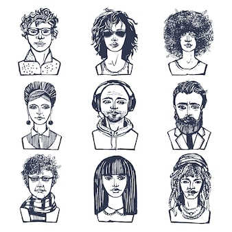 Sketch grunge males and females people portraits set isolated vector illustration