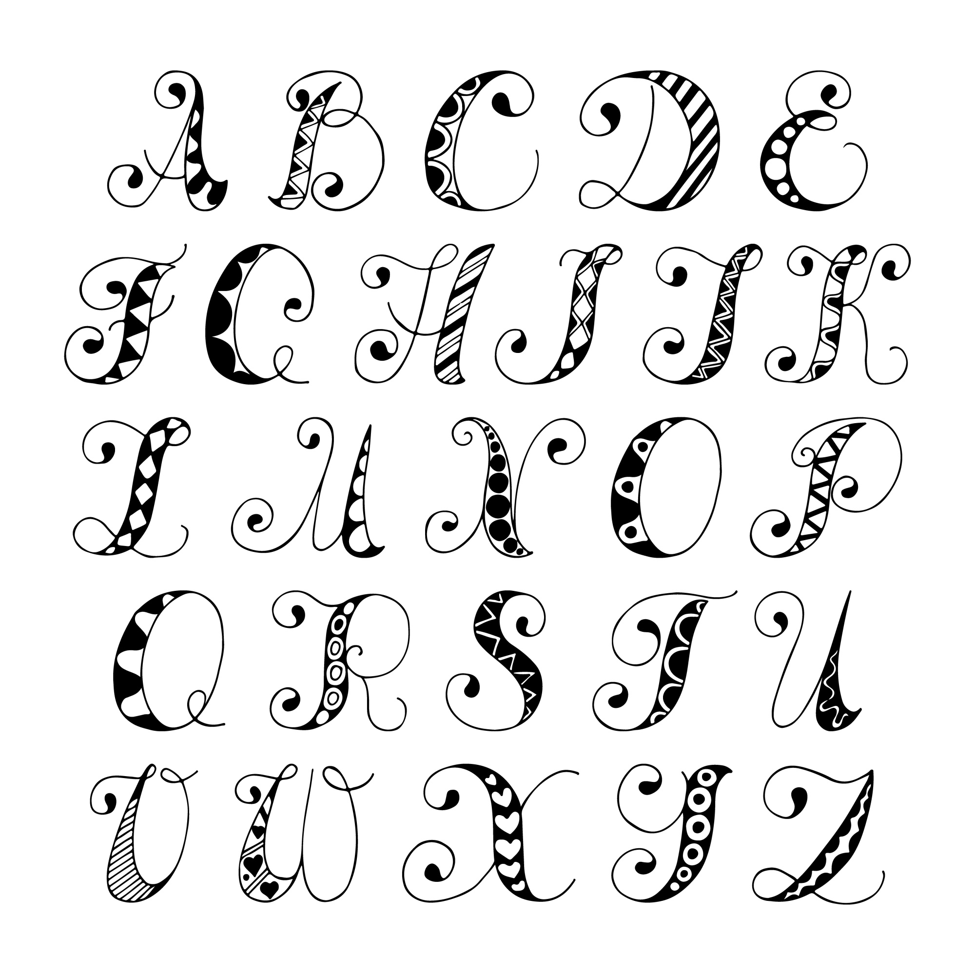 Sketch hand drawn alphabet black and white font letters isolated vector illustration