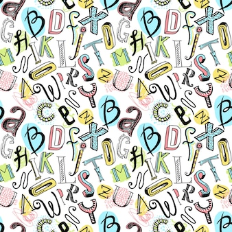 Sketch hand drawn doodle colored alphabet letters seamless pattern vector illustration