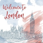 Sketch of london on a watercolor background
