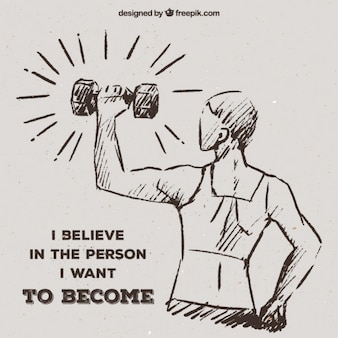 Sketch of woman lifting weights with inspirational message