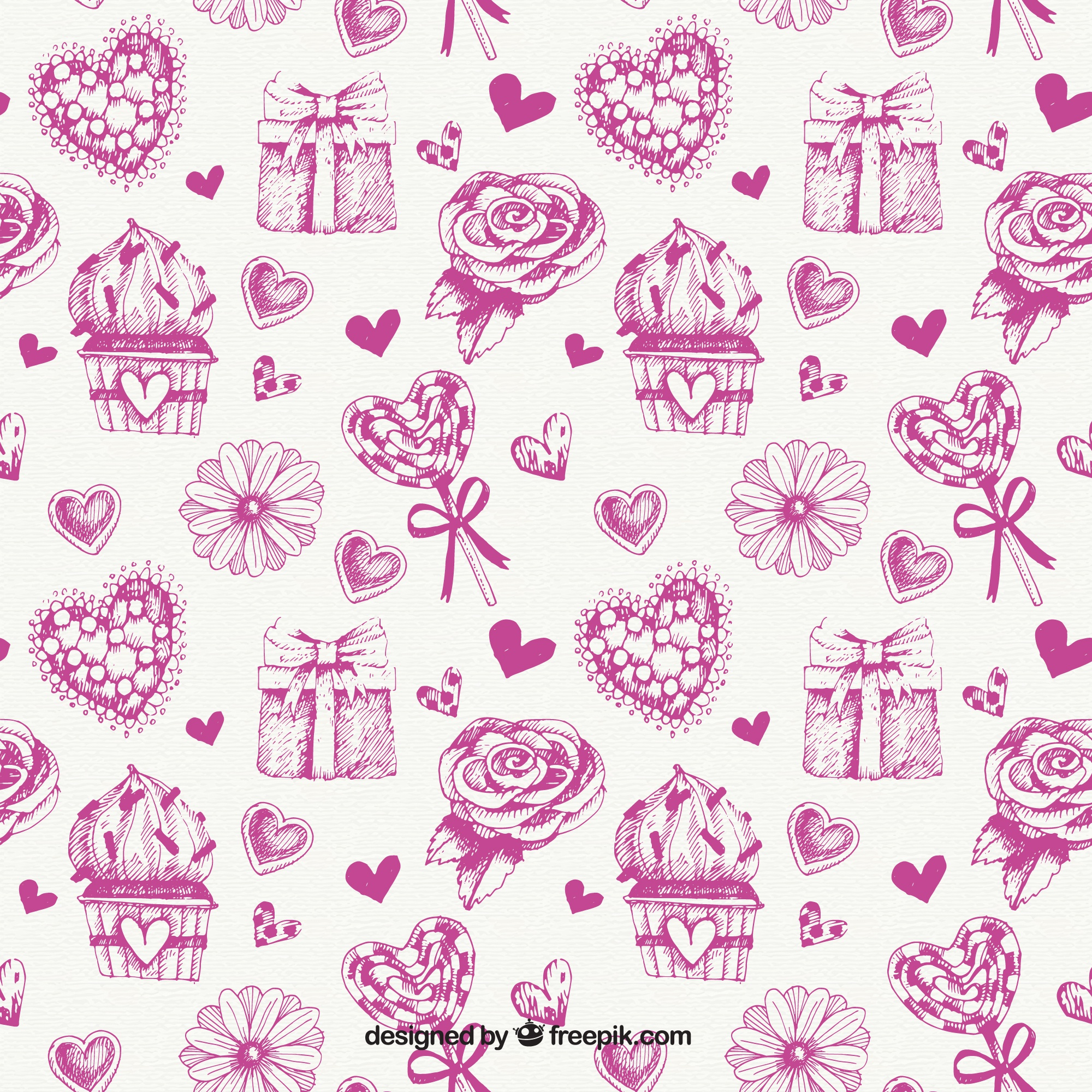Sketch Pattern Of Floral And Love Elements
