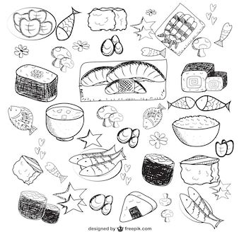 Sketched asian food