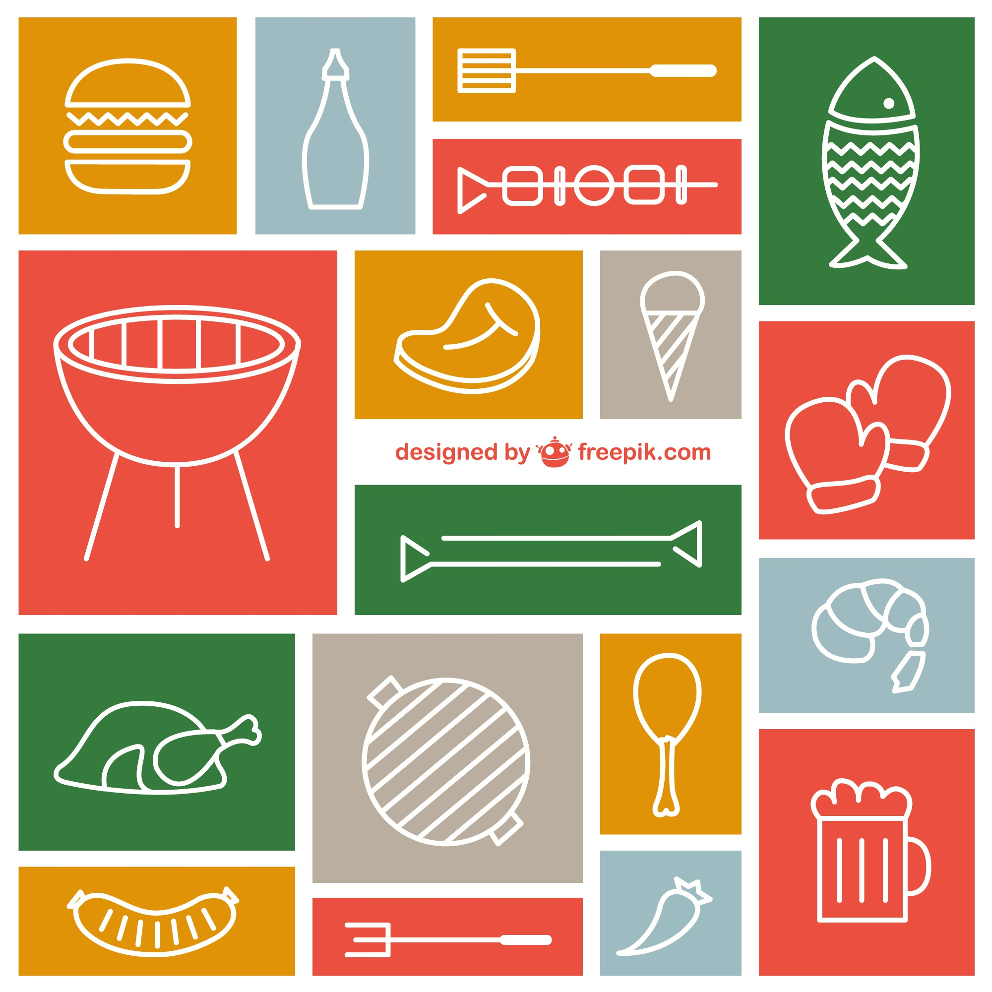 Sketched barbecue icons