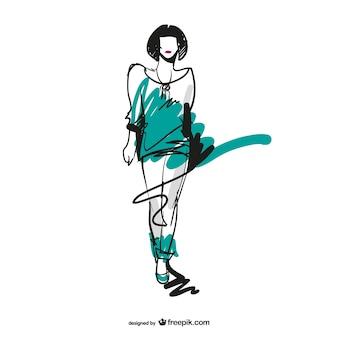 Sketched fashion girl