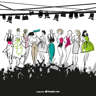 Sketched fashion models in a fashion show