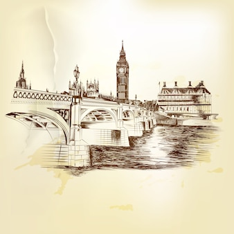 Sketched london landscape