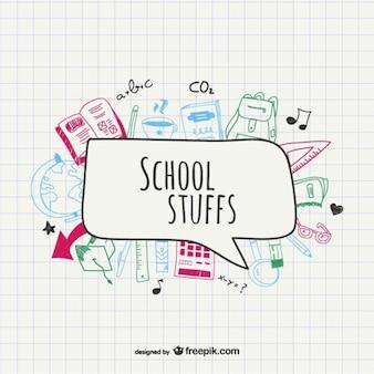 Sketched school supplies