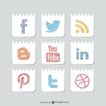 Sketched social media buttons set