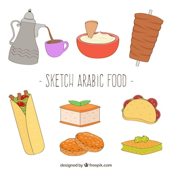 Sketches arabic food collection