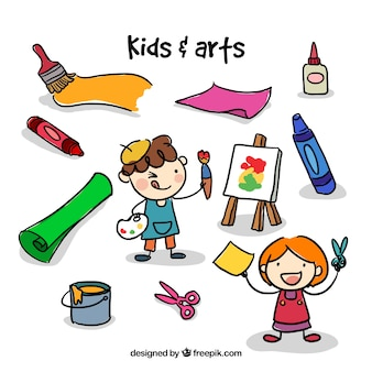 Sketches artist kids with craft elements