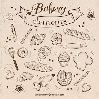 Sketches bakery elements with utensils