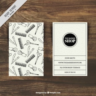 Sketches barber shop card template