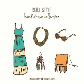 Sketches boho clothes and accessories