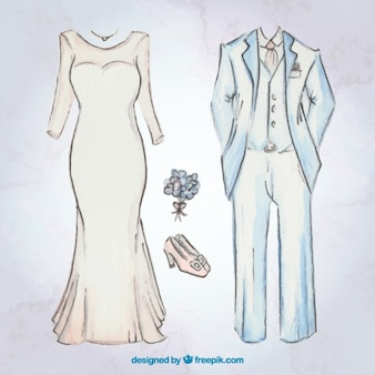 Sketches brid dress and wedding suit with accessories