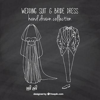 Sketches bride dress and wedding suit in blackboard effect