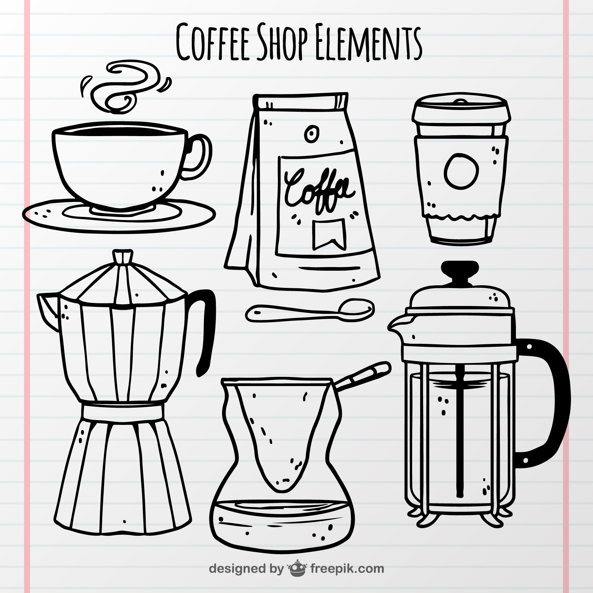 sketches coffee shop objects set