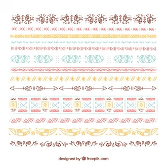Sketches colored boho border collection