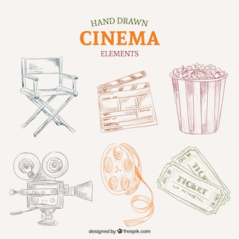 Sketches colored cinema elements