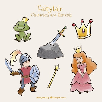 Sketches cute characters of tales